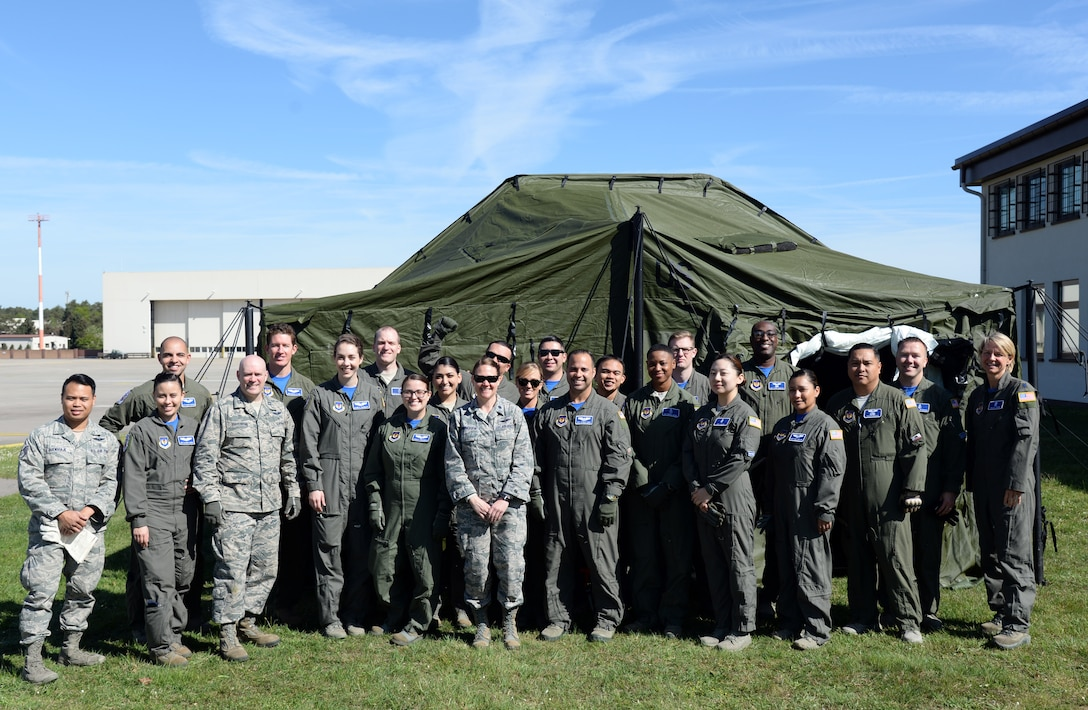 Airmen with the 86th Aeromedical Evacuation Squadron perform a readiness training exercise as part of a unit type code training on Ramstein Air Base, Germany, April 27, 2018.