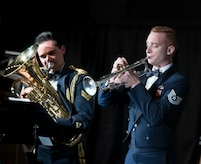 "A highlight of the concert was the featured soloists from both the Central Band and The U.S. Air Force. Technical Sgt. Forrest Sonntag, trumpet, and Corporal Lewis Musson, euphonium, took the stage together for a performance of Tom Davoren's ""Ascension."""