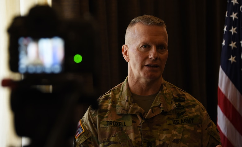 U.S. Army Command Sgt. Maj. John Wayne Troxell, Senior Advisor to the Chairman of the Joint Chiefs of Staff, stands for an interview.