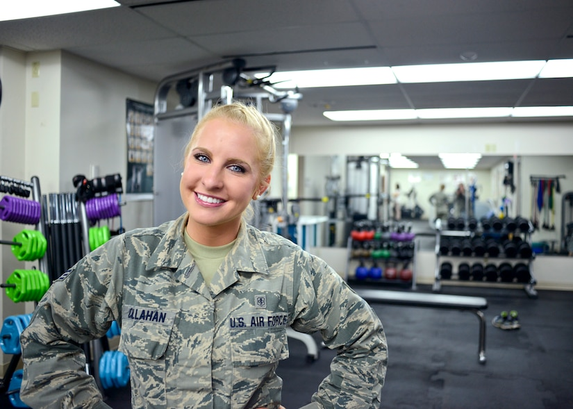 Then-Air Force Senior Airman Kaitlyn Callahan, 341st Medical Operations Squadron physical medicine technician, poses for a photo in the clinic at the Malmstrom Air Force Base, Montana, clinic.
