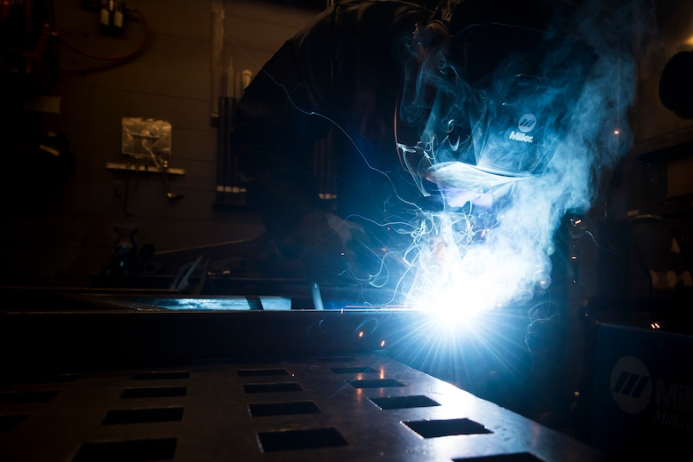 Airman 1st Class Isaiah Jackson, 23d Maintenance Squadron aircraft metals technology journeyman, components of a table, April 25, 2018, at Moody Air Force Base, Ga. Metals technicians support the mission by utilizing fabrication techniques to repair and overhaul countless tools and aircraft parts. The technicians strive to exercise safe and precise fabrication techniques to be able to sufficiently handle their intense workload. (U.S. Air Force photo by Airman 1st Class Eugene Oliver)