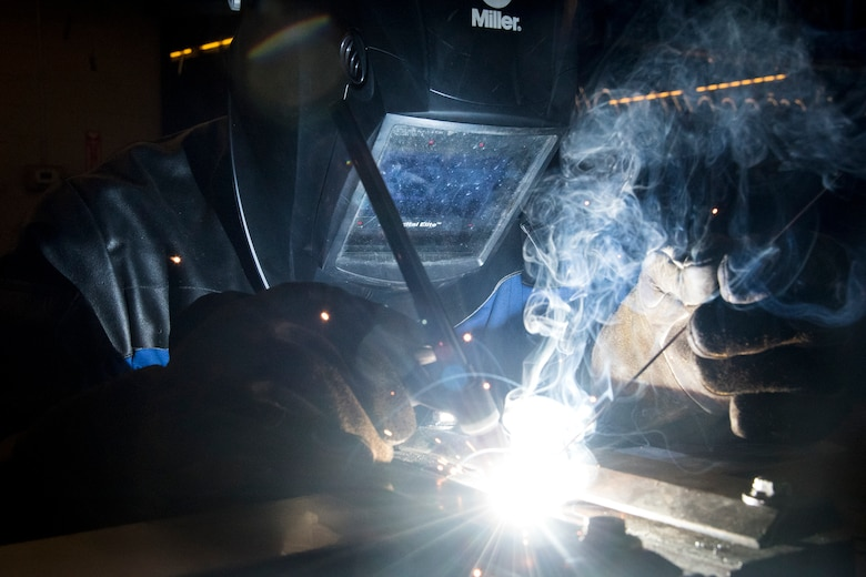 Airman 1st Class Isaiah Jackson, 23d Maintenance Squadron aircraft metals technology journeyman, welds stainless steel, April 25, 2018, at Moody Air Force Base, Ga. Metals technicians support the mission by utilizing fabrication techniques to repair and overhaul countless tools and aircraft parts. The technicians strive to exercise safe and precise fabrication techniques to be able to sufficiently handle their intense workload. (U.S. Air Force photo by Airman 1st Class Eugene Oliver)