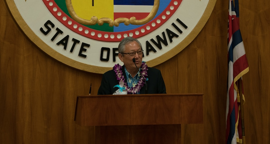 Roy Amemiya, Honolulu City managing director, provides opening remarks at Honolulu City Hall for the Sexual Assault Awareness Month Proclamation Ceremony April 18, 2018.