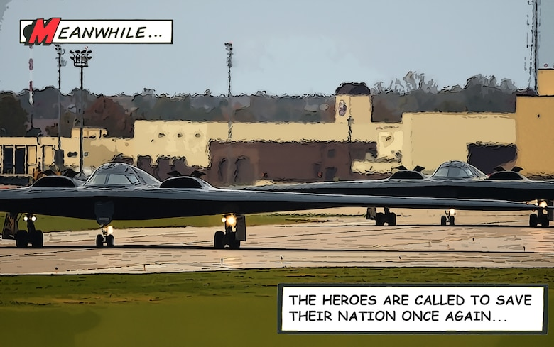 Graphic of the B-2 Spirit as a comic book strip.