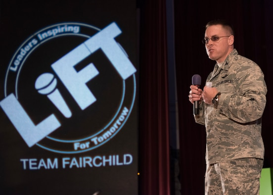 Col. Scot Heathman, 92nd Air Refueling Wing vice commander, kicks off the Leaders Inspiring For Tomorrow event at Fairchild Air Force Base, Washington, April 27, 2018.  LIFT came to Team Fairchild for it's second year in a row, giving Airmen to opportunity to hear from industry professionals about how to become a better leader. (U.S. Air Force Photo/SrA Ryan Lackey)