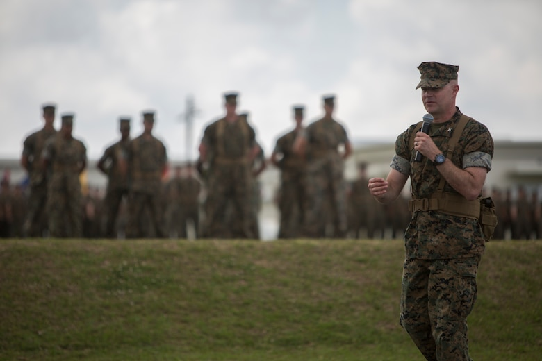 Col. Forrest C. Poole, the departing commanding officer of Combat Logistics Regiment 35, thanks the Marines of CLR-35 during the regimental change of command ceremony May 1, 2018 on Camp Kinser, Okinawa, Japan. Poole relinquished command of CLR-35 to Lt. Col. Kenric D. Stevenson. Poole is a native of Sharpesburg, Georgia. (U.S. Marine Corps photo by Lance Cpl. Jamin M. Powell)