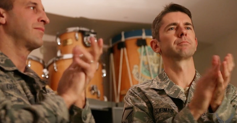 """In this month's installment of """"On the Fly,"""" we are excited to share Steve Reich's 1972 minimalist classic """"Clapping Music,"""" as performed by percussionists and Concert Band members Master Sgt Randy Gorman and Master Sgt. Adam Green."""