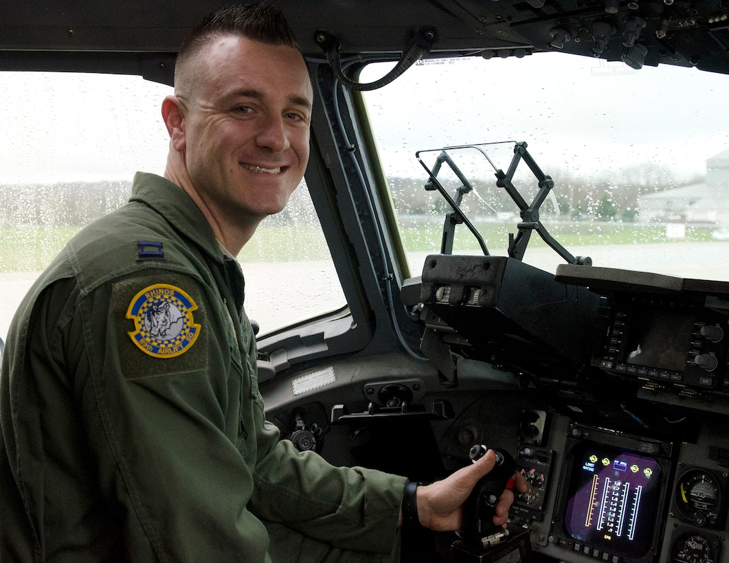 Capt. Josh Earl, 89th Airlift Squadron pilot scheduler, is the 445th Airlift Wing May 2018 Spotlight Performer. (U.S. Air Force photo/Staff Sgt. Darrell Sydnor)