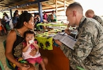 U.S. Air Force Capt. Charles Hutchings, 346th Expeditionary Medical Operations Squadron pediatrician, explains info to a local woman near Meteti, Panama, April 17, 2018. Hutchings was part of an Embedded Health Engagement Team, which gave him a unique learning experience by submerging him into local clinics. The team was participating in Exercise New Horizons 2018, which will assist communities throughout Panama by providing medical assistance and building facilities such as schools, a youth community center and a women's health ward. (U.S. Air Force photo by Senior Airman Dustin Mullen)