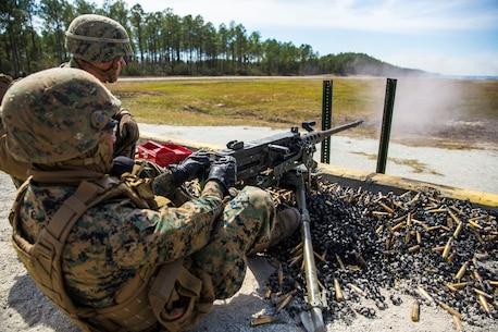 II MIG Marines Fire Machine Guns