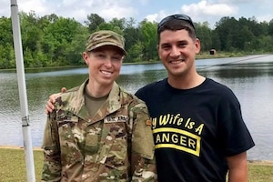 Army Capt. Natalie Mallue and her husband, Army Capt. Edward Mallue, pose for a photo at Fort Benning, Ga., April 28, 2017. At that time, Natalie had just graduated from Ranger school, the sixth woman ever to do so. Mallue is also the first woman to hold both Ranger and Sapper tabs. Courtesy photo