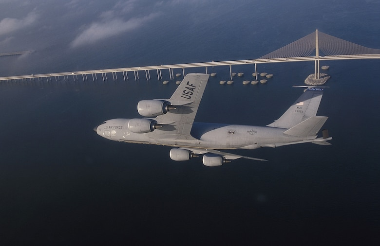 A KC-135R Stratotanker assigned to the 6th Air Refueling Wing, 91st Air Refueling Squadron, at MacDill Air Force Base, Fla., flies a training mission over central Florida. The KC-135's principal mission is air refueling. This asset greatly enhances the U. S. Air Force's capability to accomplish its mission of Global Engagement. It also provides aerial refueling support to U.S. Navy, U.S. Marine Corps and allied aircraft. Four turbofans, mounted under 35-degree swept wings, power the KC-135 to takeoffs at gross weights up to 322,500 pounds (146,285 kilograms). Nearly all internal fuel can be pumped through the tanker's flying boom, the KC-135's primary fuel transfer method. A special shuttlecock-shaped drogue, attached to and trailed behind the flying boom, may be used to refuel aircraft fitted with probes. An operator stationed in the rear of the plane controls the boom. (U.S. Air Force photo by Master Sgt Keith Reed)