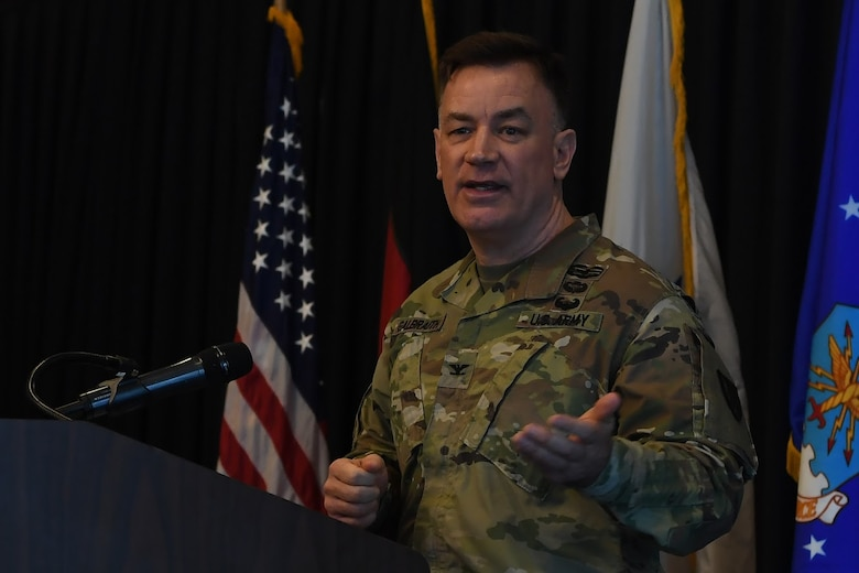 U.S. Army Col. William S. Galbraith, 21st Theatre Sustainment Brigade deputy commanding officer, speaks during the Sexual Assault Prevention and Response Leadership Breakfast at Ramstein Air Base, April 12, 2018.