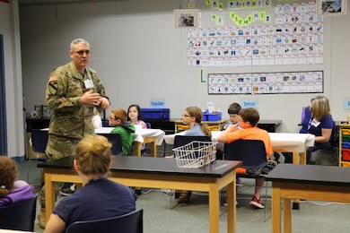 Col. Stephen Bales, U.S. Army Corps of Engineers' Middle East District commander, spent May 1 with 28 fourth and fifth grade students at STARBASE Academy, Winchester, discussing engineering and problem solving.