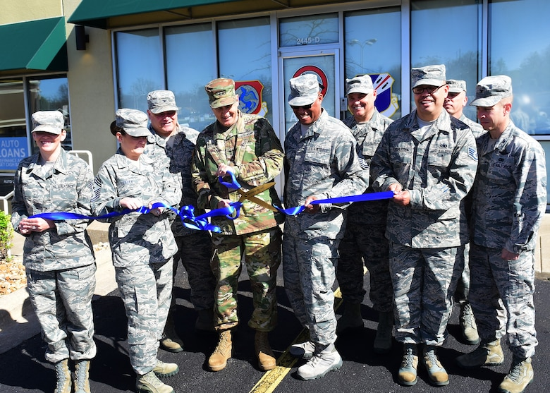 Maj. Gen. Steve Danner, the adjutant general of Missouri, cuts the ceremonial ribbon for the first-ever Missouri Air National Guard recruiting office, in Springfield, Mo., April 27, 2018. Danner was joined by Missouri Air National Guard senior leaders and recruiters.  (U.S. Air National Guard photo by Senior Master Sgt. Mary-Dale Amison