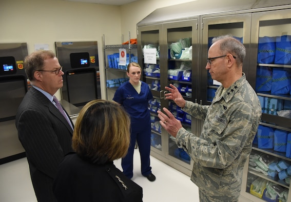 U.S. Air Force Lt. Gen. Mark Ediger, Air Force Surgeon General, right, discusses the 81st Dental Squadron clinic renovations with Thomas McCaffery, Acting Assistant Secretary of Defense for Health Affairs, and U.S. Navy Vice Adm. Raquel Bono, Defense Health Agency director, at the Keesler Medical Center during a site visit at Keesler Air Force Base, Mississippi, April 27, 2018. The purpose of the visit was to get oriented with base operations and the Keesler Medical Center. The visit also included an office call with 2nd AF leadership and tours of the Clinical Research Lab and Radiology Oncology. (U.S. Air Force photo by Kemberly Groue)