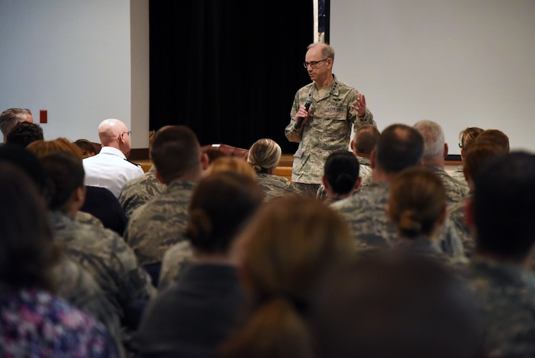 U.S. Air Force Lt. Gen. Mark Ediger, Air Force Surgeon General, delivers remarks during a town hall meeting for members of the 81st Medical Group at the Don Wiley Auditorium inside the Keesler Medical Center during a site visit at Keesler Air Force Base, Mississippi, April 27, 2018. The purpose of the visit was to get oriented with base operations and the Keesler Medical Center. The visit also included an office call with 2nd Air Force leadership and tours of the Clinical Research Lab and the newly renovated 81st Dental Squadron clinic. (U.S. Air Force photo by Kemberly Groue)