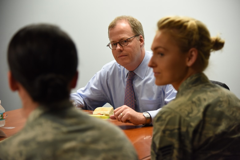 Thomas McCaffery, Acting Assistant Secretary of Defense for Health Affairs, attends a luncheon with Airmen at the Keesler Medical Center during a site visit at Keesler Air Force Base, Mississippi, April 27, 2018. The purpose of the visit was to get oriented with base operations and the Keesler Medical Center. The visit also included an office call with 2nd Air Force leadership and tours of the Clinical Research Lab and the newly renovated 81st Dental Squadron clinic. (U.S. Air Force photo by Kemberly Groue)