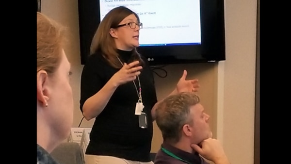 Michelyne LeBlanc, who works in the Defense Contract Management Agency's Information Technology directorate, participated in a cross capability coordination summit March 19-20, 2018, at Fort Lee, Virginia. The summit allowed employees to discuss the Business Capability Framework. (Photo courtesy of Marie Hechsel)