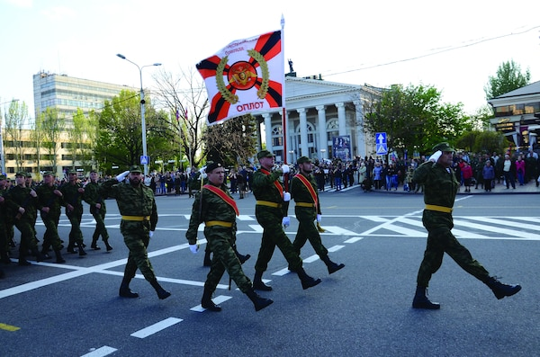 Rehearsal of the parade in honor of Victory Day in Donetsk.
