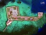 The Chinese People's Liberation Army-Navy is establishing a network of enhanced reefs enabling China to exert control over the South China Sea. (SatelliteImage©2018DigitalGlobe)