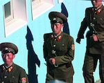In 1998, People's Army guards from North Korea march in formation to their appointed posts during a repatriation ceremony in the Panmunjom Joint Security Area.