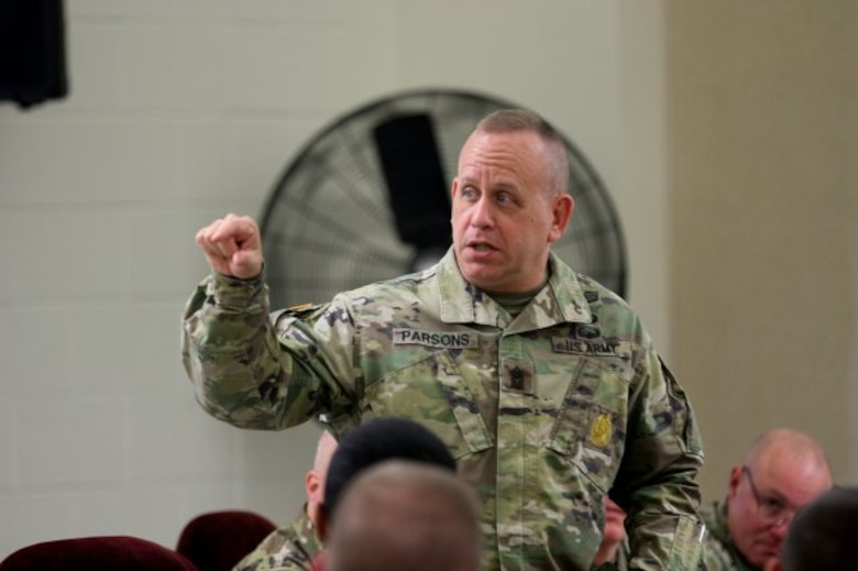 Command Sgt. Maj. Berk Parsons, the Command Sgt. Maj. of the Field Artillery, briefs updates to the Noncommissioned Officer Education System or NCOES, during the Northeast Regional Field Artillery Symposium on Joint Base McGuire-Dix-Lakehurst, New Jersey April 24, 2018. (U.S. Army photo by Sgt. 1st Class Corey Vandiver) (Photo Credit: Sgt. 1st Class Corey Vandiver)