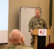 Maj. Ronald Mildren, of the 10th Mountain Division, briefs fires cell integration at the Northeast Regional Field Artillery Symposium on Joint Base McGuire-Dix-Lakehurst, New Jersey April 25, 2018. (U.S. Army photo by Sgt. 1st Class Corey Vandiver) (Photo Credit: Sgt. 1st Class Corey Vandiver)