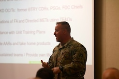 Col. David Sanders, 174th Infantry Brigade commander, provides an overview of the unit's partnership philosophy during the Northeast Regional Field Artillery Symposium on Joint Base McGuire-Dix-Lakehurst, New Jersey April 24, 2018. (U.S. Army photo by Sgt. 1st Class Corey Vandiver (Photo Credit: Sgt. 1st Class Corey Vandiver)