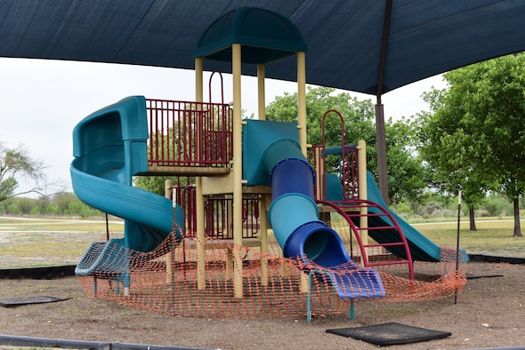 Playgrounds on Laughlin Air Force Base are schedule to undergo major repairs May 3, 2018. The playgrounds sustained damage during the hailstorm in 2016 causing them to be dangerous and unusable. (U.S. Air Force photo by Airman 1st Class Marco A. Gomez)