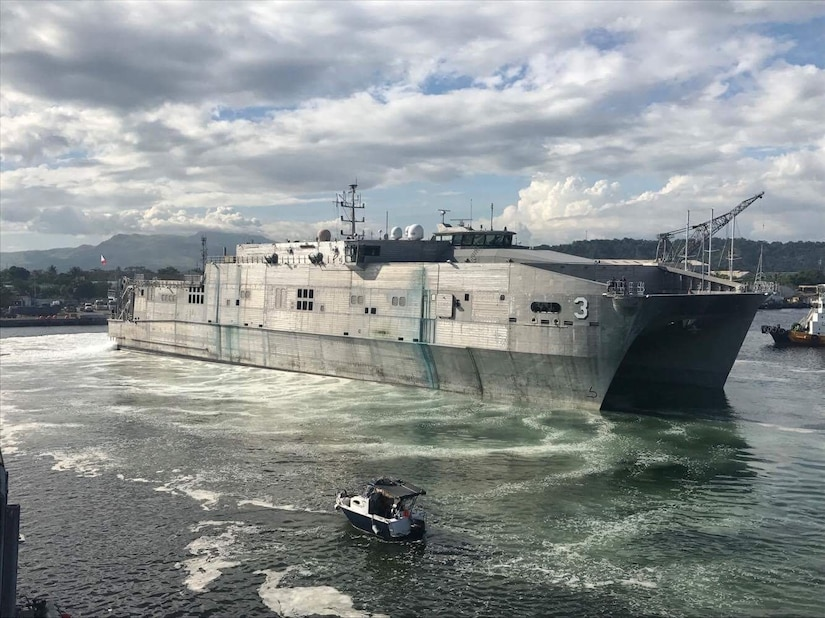 The expeditionary fast transport USNS Millinocket is photographed as it arrives in Subic Bay, Philippines.