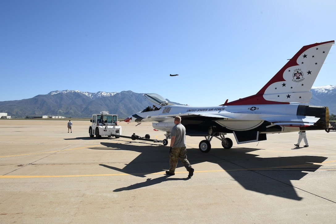A U.S. Air Force Thunderbird jet is towed onto the flightline April 26, 2018, at Hill Air Force Base, Utah. The aircraft was the first to receive structural modifications as part of the F-16 Service Life Extension Program, or SLEP, that will keep the jet flying for decades. (U.S. Air Force photo by R. Nial Bradshaw)