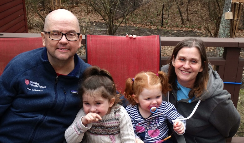 Brian Monahan with his daughters Keira, 3 and Maddie, 2 and his wife Rhonda.