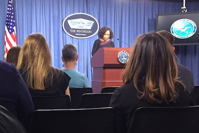 Chief Pentagon spokesperson Dana W. White conducts a news conference at the Pentagon.