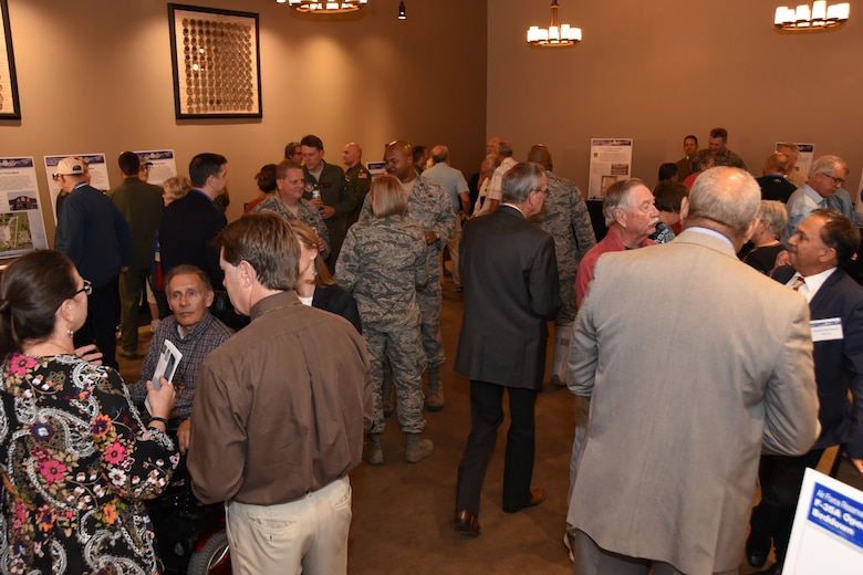 Service members from Naval Air Station Fort Worth Joint Reserve Base, Texas meet with local residents and elected officials at the F-35A Environmental Impact Statement Public Scoping Meeting April 19, 2018, in Fort Worth, Texas. The meeting solicited comments from the community about the F-35A aircraft bed down that would replace the current F-16 mission. The community can still give comments at http://www.afrc-f35a-beddown.com until May 11, 2018. (U.S. Air Force photo by Tech. Sgt. Charles Taylor)