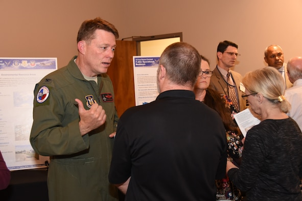 Col. Mitchell Hanson, 301st Fighter Wing Vice Commander at Naval Air Station Fort Worth Joint Reserve Base, Texas, meets with local residents and elected officials at the F-35A Environmental Impact Statement (EIS) Public Scoping Meeting April 19, 2018, in Fort Worth, Texas. The meeting solicited comments from the community about the F-35A aircraft bed down that would replace the current F-16 mission. The community can still give comments at http://www.afrc-f35a-beddown.com until May 11, 2018. (U.S. Air Force photos by Tech. Sgt. Charles Taylor)