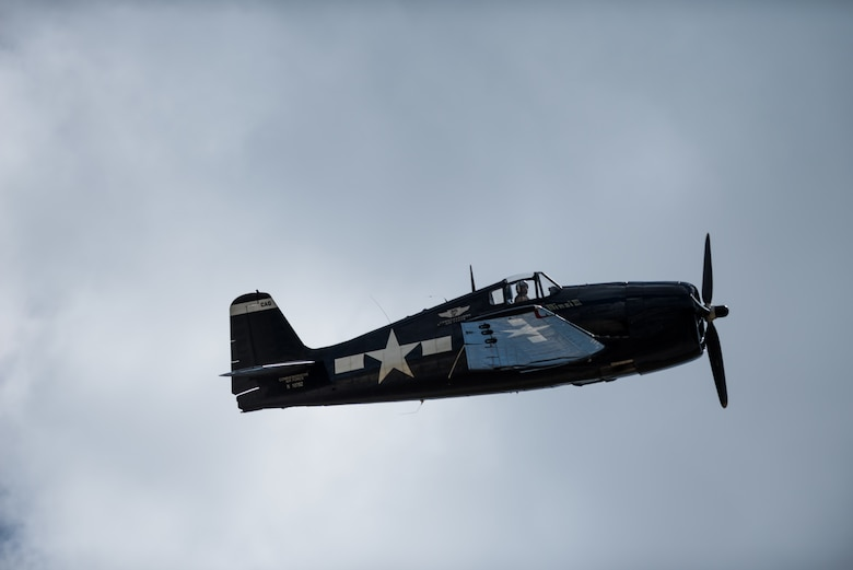 An F6F Hellcat flies through the sky above Beale Air Force Base, California, during the Air and Space Expo on April 27, 2018. The Hellcat is powered by an engine that produces over 2200 horsepower and top speeds of 391 mph. (U.S Air Force photo/Senior Airman Justin Parsons)