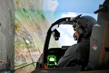 Simon Sinek, author and optimist, flies the A-10 Thunderbolt II simulator at Davis-Monthan Air Force Base, Ariz., May 2, 2018.