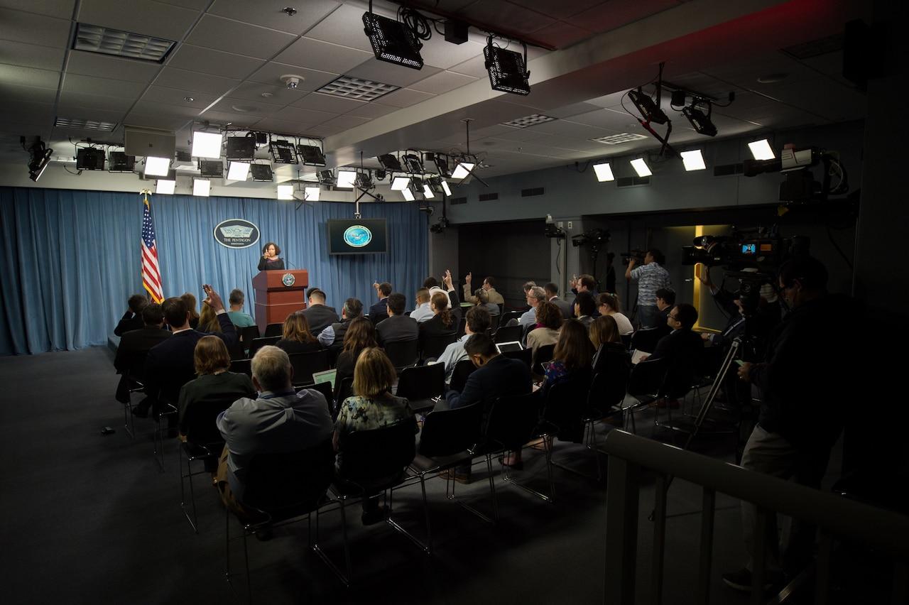 Chief Pentagon spokesperson Dana W. White briefs reporters at the Pentagon.