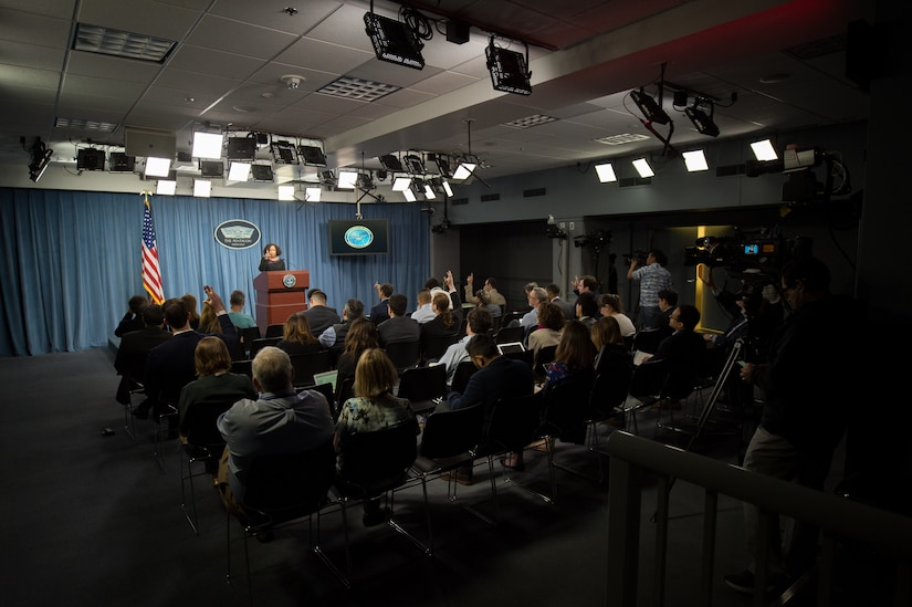 Chief Pentagon spokesperson Dana W. White briefs reporters at the Pentagon.