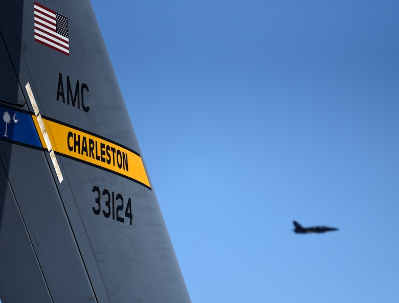 A T-38 Talon performs April 28, 2018, during the Joint Base Charleston Air & Space Expo at JB Charleston, S.C. The air show hosted more than 50 displays including the MQ-9 Reaper. (U.S. Air Force photo by Senior Airman Christian Clausen)