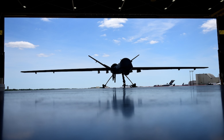 The MQ-9 Reaper is prepared for the Joint Base Charleston Air & Space Expo April 26, 2018, at JB Charleston, S.C. The air show took place from April 27-28, 2018 and hosted more than 80,000 attendees. (U.S. Air Force photo by Senior Airman Christian Clausen)