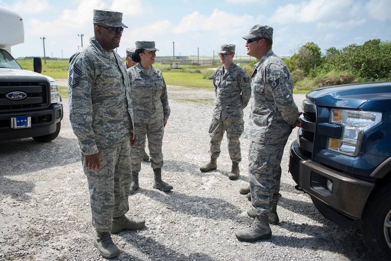 Lt. Gen. Stayce D. Harris, the U.S. Air Force inspector general, speaks with Airmen assigned to the 36th Munitions Squadron during a tour of Andersen Air Force Base, Guam, 3 May, 2018. General Harris was introduced to the unique and varied mission set that Team Andersen is responsible for. (U.S. Air Force photo by Senior Airman Zachary Bumpus)
