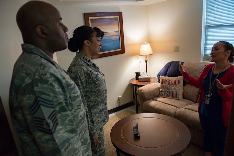 Lt. Gen. Stayce D. Harris, the U.S. Air Force inspector general, visits the Sexual Assualt Prevention and Response office during a tour of Andersen Air Force Base, Guam, 3 May, 2018. General Harris visited Andersen during a tour of the Pacific Region to learn more about challenges and opportunities at the remote Pacific Air Forces base. (U.S. Air Force photo by Senior Airman Zachary Bumpus)