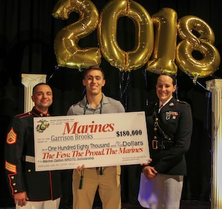 Capt. Jennifer Mozzetta (right), executive officer, Recruiting Station Tampa and SSgt. Brenton Spriggs (left), station commander, Recruiting Substation Leesburg , present Garrison Brooks, a senior at Eustis High School, Eustis, Fl., the Naval Reserve Officer Training Corps Marine Option Scholarship during an awards ceremony May 3, 2018. Brooks will be granted the opportunity to serve his country as a Marine Corps officer upon completion of his degree. (Official Marine Corps photo by Sgt. Shamoon/ Released)