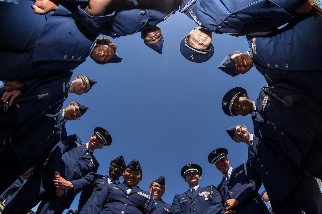 Crestwood High School Junior ROTC cadets pose for a photo during the annual Top Gun Drill Meet at McEntire Joint National Guard Base, S.C., April 28, 2018. High School junior ROTC cadets from across the state competed in drill and ceremony events sponsored by the South Carolina Air National Guard. (U.S. Air National Guard photo by Senior Airman Megan Floyd)