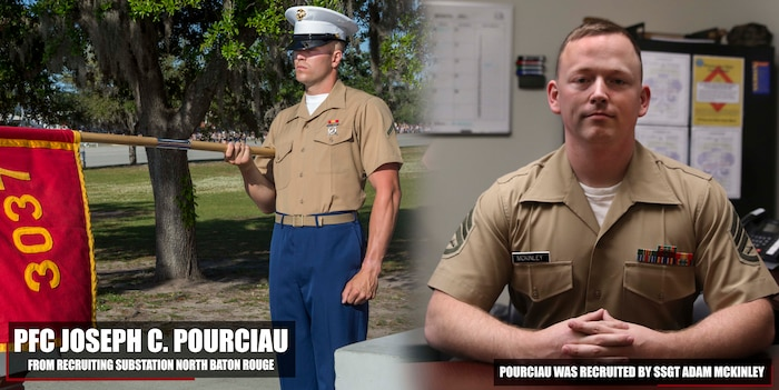 Private First Class Joseph C. Pourciau graduated Marine Corps recruit training May 4, 2018, aboard Marine Corps Recruit Depot Parris Island, South Carolina. Pourciau was the Honor Graduate of platoon 3037. Pourciau was recruited by SSgt. Adam Mckinley from Recruiting Substation North Baton Rouge. (U.S. Marine Corps photo by Lance Cpl. Jack A. E. Rigsby)