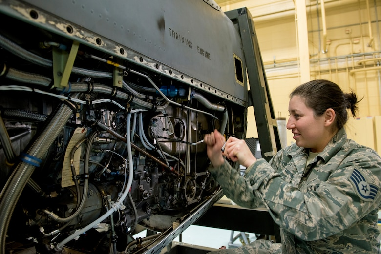 U.S. Air Force Staff Sgt. Samantha Palacios, an aerospace propulsion specialist at the 182nd Maintenance Squadron, Illinois Air National Guard, works on a training engine in the machine shop at the 182nd Airlift Wing, Peoria, Ill., April 8, 2018.