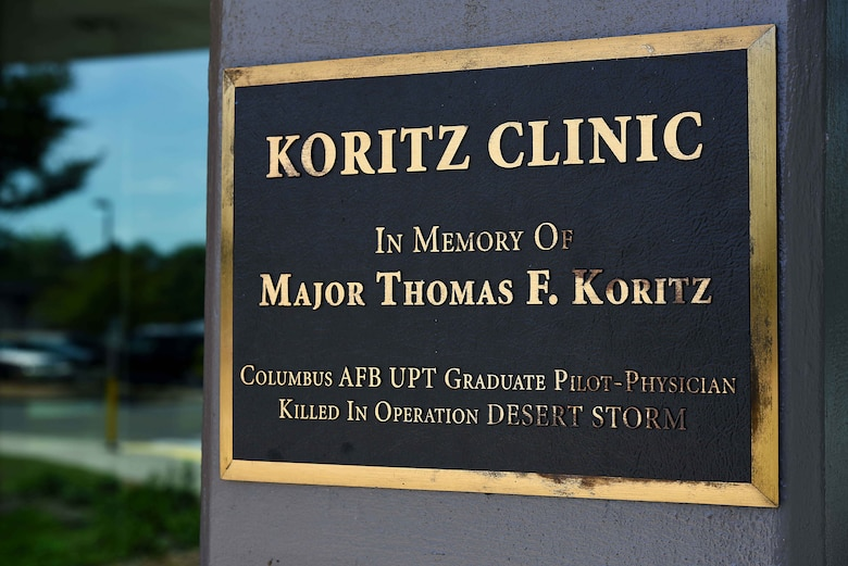 Maj. Tom Koritz was one of 42 pilots in Undergraduate Pilot Training class 82-01 that earned their silver wings in October 1982 at Columbus AFB, Miss. and the first pilot physician that went through pilot training as a doctor first. In 2008 the Koritz Clinic was named in honor of Maj. Tom Koritz after he was shot down during the second night of combat in operation Desert Storm in 1991. (U.S. Air Force photo by Airman 1st Class Keith Holcomb)