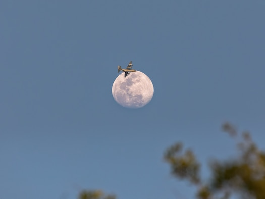 Melbourne, Florida photographer Michael Seeley spends a ton of time looking at the moon, but says it's the first time he happened to catch an airplane-lunar transit early in April 2018. After capturing the shot, he got in touch with the 920th Rescue Wing public affairs office to share the photo. Upon close inspection you can see the loading ramp was open while the Reserve Citizen Airmen piloting the HC-130N on a local training mission crossed the moon. (Photo courtesy Michael Seeley)